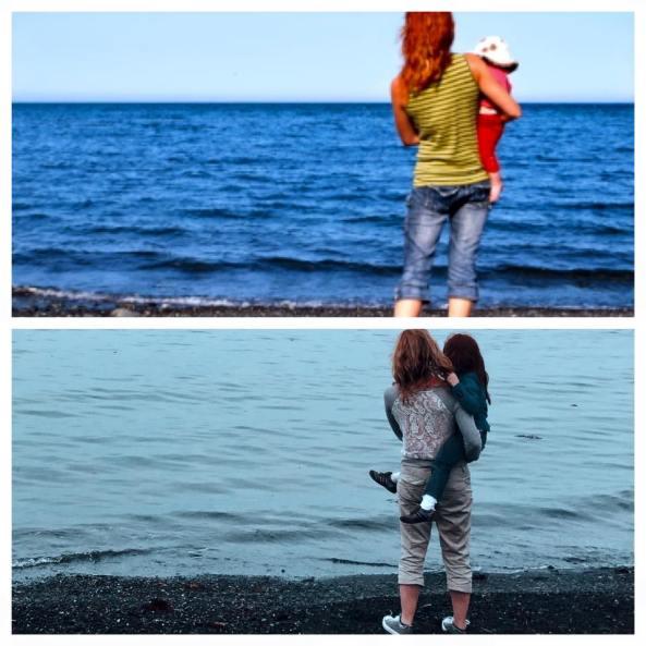 La mer... Anse-Au-Griffon, Gaspésie. Même grève, mêmes fillettes. 5 années d'intervalle.